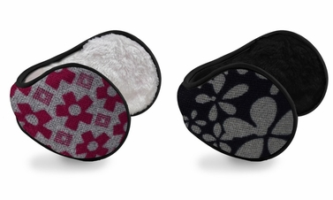 Fuchsia Grey Printed Earmuffs with Plush Lining 2-Pack Set