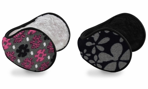 Women's Printed Earmuffs with Plush Lining 2-Pack Set (Pink/Grey)