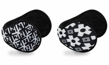 White Printed Earmuffs with Plush Lining 2-Pack Set
