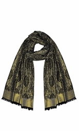 Women's Ravishing Reversible Jacquard Paisley Shawl Wrap Pashmina (Damask Black)