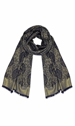 Women's Ravishing Reversible Jacquard Paisley Shawl Wrap Pashmina Damask Navy)