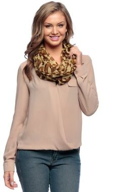Retro Fashion Two Tone Animal Print Infinity Loop Scarf