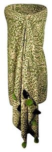 Pine Green Retro Warm Floral Animal Print Pashmina Scarf with Faux Fur Poms