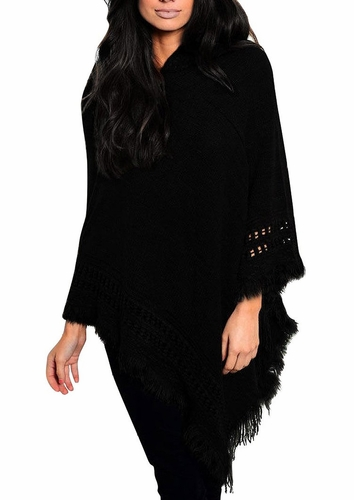 Women's Snug and Warm Crochet Hooded Fringe Wrap Shawl Poncho (Black)
