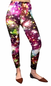 Pink Stretch Luxury Galaxy Print Leggings Tight Pants