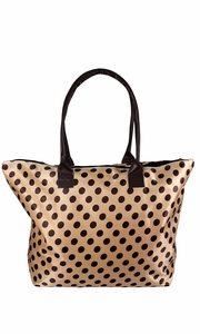 Beige Brown Womens Large Travel Tote Handbag Shoulder Bag Purse Polka Dot