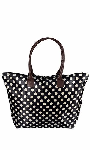Black White Womens Large Travel Tote Handbag Shoulder Bag Purse Polka Dot
