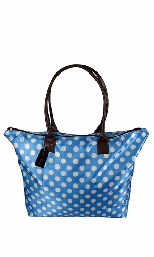 Light Blue White Womens Large Travel Tote Handbag Shoulder Bag Purse Polka Dot