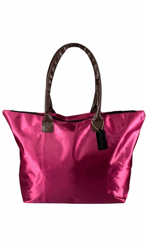 Womens Beach Fashion Large Travel Tote Handbag Shoulder Bag Purse Solid Fuchsia