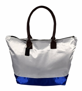 White Royal Blue Womens Beach Large Travel Tote Handbag Shoulder Bag Purse