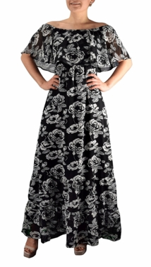 Black-White Gypsy Vintage Floral Maxi Dress