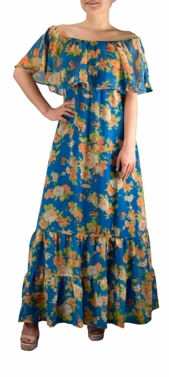 Teal Gypsy Bohemian Vintage Floral On or Off the Shoulder Maxi Dress
