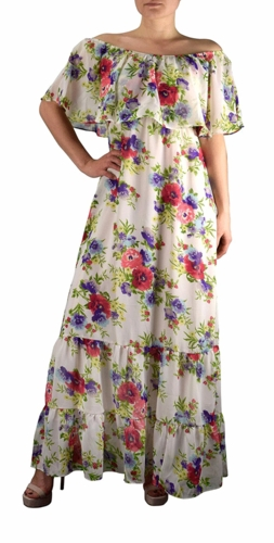 White Gypsy Bohemian Vintage Floral On or Off the Shoulder Maxi Dress