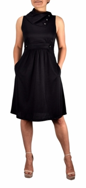 Black Casual Sleeveless Fold Over Collar Swing Vintage Dress