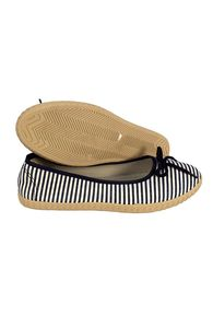 Black Womens Casual Striped Slip On Flat