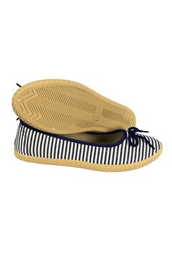 Navy Casual Striped Slip On Flat Espadrilles Bow Ballet Flats