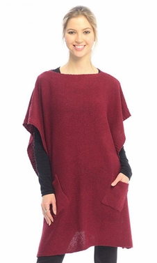 Womens Fall Winter Button Sweater Front Pockets Cape Wrap Poncho (Wine)