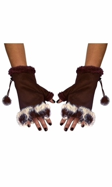 Brown Womens Fingerless Fur Trimmed Size Adjusting Winter Gloves