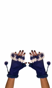 Womens Fashionable Fingerless Fur Trimmed Size Adjusting Winter Gloves (Navy)