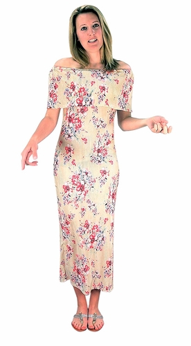 Champagne Floral Print Pleat Fabric Off Shoulder Maxi Dress