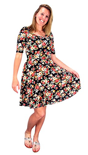 Womens Half Sleeves Rose Floral Print Princess Seam Skater Dress Black
