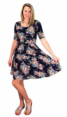 Navy Half Sleeves Rose Floral Print Princess Seam Skater Dress