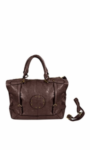 Womens Handbags with Metal Studded Embellishments and 3-in-1 handles Coffee