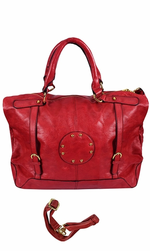 Red Handbags with Metal Studded Embellishments and 3-in-1 handles