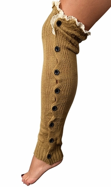 Winter Knitted Button Up Boot Cut Leg Warmers