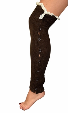 Brown Warm Chic Winter Knitted Button Up Boot Cut Leg Warmers