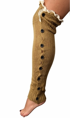 Camel Chic Winter Knitted Button Up Boot Cut Leg Warmers