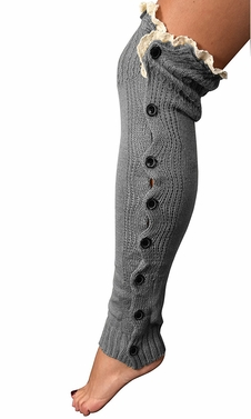 Grey Warm Chic Winter Knitted Button Up Boot Cut Leg Warmers