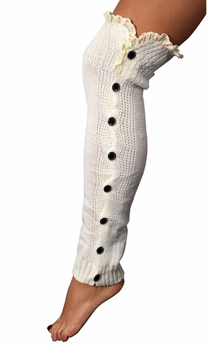 White Warm Chic Winter Knitted Button Up Boot Cut Leg Warmers