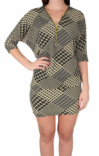 Houndstooth Oversized Pullover Zip-Neck Dolman Top Dress