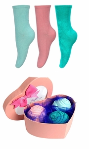 Teal Pink Rose Fold Bouquet Cotton Crew Socks Heart Box 3 Pack Seafoam
