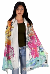 Womens Soft Fashion Artistic Digital Print Long Scarf Wrap Shawl (Anime)