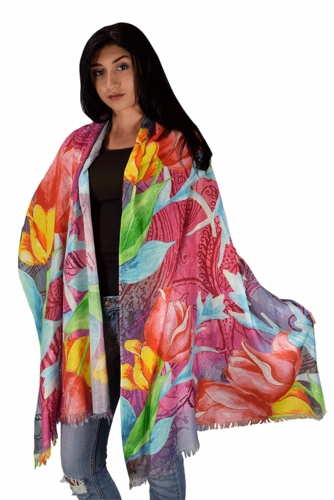 Artsy Tulip Artistic Digital Print Long Scarf Wrap Shawl