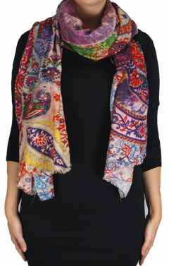 Womens Soft Fashion Artistic Digital Print Long Scarf Wrap Shawl (Paisley Flower)