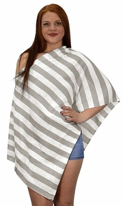 Ash Grey Summer Light weight Striped Poncho Shrug Cover Up