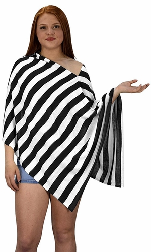 Black Summer Light weight Striped Poncho Shrug Cover Up