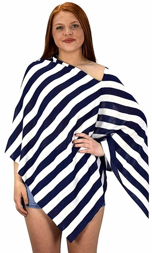 Navy Summer Light weight Striped Poncho Shrug Cover Up