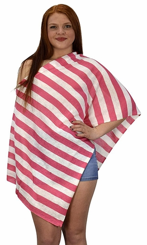 Pink Summer Light weight Striped Poncho Shrug Cover Up