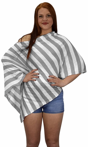 Womens Summer Fashion Light weight Striped Poncho Shrug Cover Up Silver