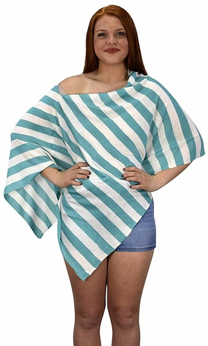 Teal Summer Light weight Striped Poncho Shrug Cover Up