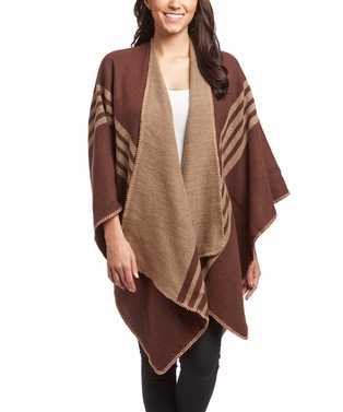 Brown Warm Checkered Striped Poncho Blanket Wrap Shawl