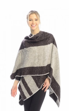 Brown Warm Geometric Striped Poncho Blanket Wrap Shawl