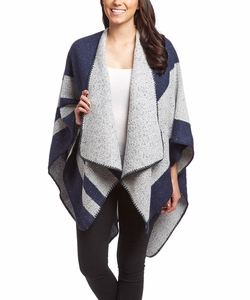 Navy Warm Geometric Striped Poncho Blanket Wrap Shawl