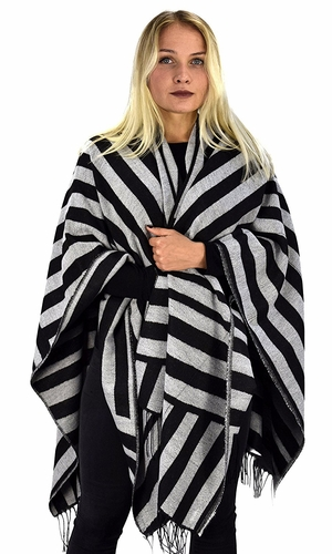 Black Grey Striped Warm Geometric Poncho Blanket Wrap Shawl