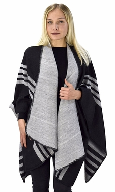Womens Thick Warm Geometric Striped Poncho Blanket Wrap Shawl (Striped Grey/Black)