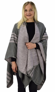 Pink Grey Warm Geometric Striped Poncho Blanket Wrap Shawl